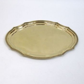 BR1407 - Solid Brass Tray, Rounded Oval Octagon